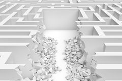 3d rendering of a white square maze with a direct route cut right to the center in close up view Royalty Free Stock Photos