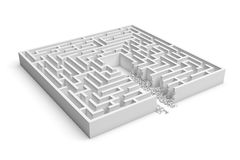 3d rendering of a white square maze with a direct route cut right to the center. Puzzles and problems. Unexpected solutions. Mazes and labyrinths Stock Photos