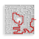 3d rendering of a white square maze with a red arrowed line showing the solution on white background. Stock Image