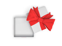 3d rendering of a white square opened gift box with a red bow on white background as seen from above. Stock Images