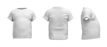 3d rendering of a white T-shirt in realistic fat shape in side, front and back view on white background. Royalty Free Stock Photos
