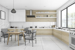 3d rendering white vintage kitchen with dining table and chair Stock Photo