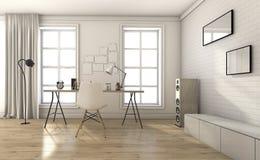 3d rendering white vintage living room in summer Stock Images