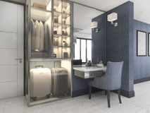 3d rendering white walk in closet with blue decor near bedroom Stock Photo