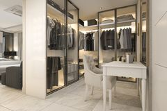 3d rendering white walk in closet with golden decor near bedroom Stock Photography