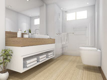 3d rendering white wood design bathroom and toilet Royalty Free Stock Image