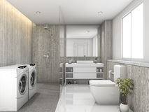 3d rendering white wood and stone tile toilet and laundry room Royalty Free Stock Images