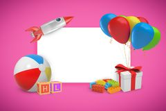3d rendering of a white writing board surrounded with toys and a present box with colorful balloons tied to it on a pink