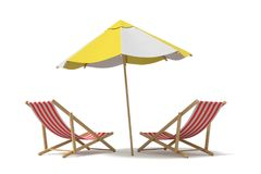 3d rendering of a white and yellow beach umbrella standing above two deck chairs. Stock Images