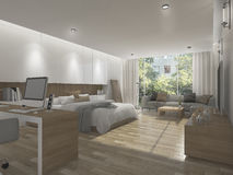 3d rendering wide beautiful bedroom with outdoor background Royalty Free Stock Photography