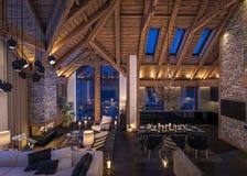 3D rendering wieczór żywy pokój szalet Fotografia Royalty Free