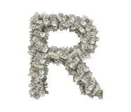 3d rendering wielki odosobniony ampuła list R robić sto dolarowych rachunków Obrazy Stock