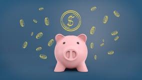 3d rendering wielki prosiątko bank w frontowym widoku na błękitnym tle z wiele kredowymi złotymi dolar monetami rysować nad ono Fotografia Stock