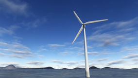 3D rendering Wind turbine on sea. 3D rendering of a wind turbine in the sea. A close up of an electric mill for green energy technology on the water. Beautiful Royalty Free Stock Image