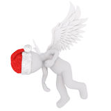 3D rendering of winged figure in holiday hat. Appearing to be wounded and holding hand to heart Stock Photo