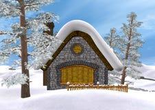 3D Rendering Winter Cottage Stock Photos