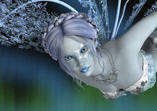3D Rendering Winter Fairy. 3D rendering of a beautiful winter fairy on a fantasy sky background Royalty Free Stock Photography