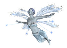 3D Rendering Winter Fairy on White. 3D rendering of a beautiful winter fairy  on white background Royalty Free Stock Photos