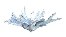 3D Rendering Winter Fairy on White. 3D rendering of a beautiful winter fairy isolated on white background Royalty Free Stock Photos