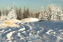 3d rendering of winter landscape with snow trails and glass ball. In the middle Stock Photos