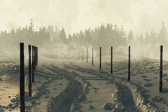 3d rendering of winter landscape with snow trails and fog. 3d rendering of winter landscape with snow trails and mystical fog Royalty Free Stock Image