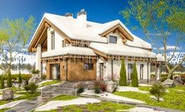 3d rendering wiosna nowożytny wygodny dom w szaletu stylu Fotografia Royalty Free