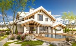 3d rendering wiosna nowożytny wygodny dom w szaletu stylu Zdjęcia Royalty Free