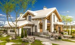 3d rendering wiosna nowożytny wygodny dom w szaletu stylu Zdjęcie Royalty Free