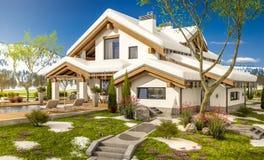 3d rendering wiosna nowożytny wygodny dom w szaletu stylu Obraz Royalty Free