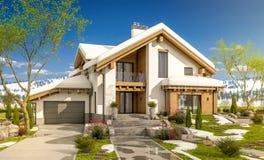 3d rendering wiosna nowożytny wygodny dom w szaletu stylu Obrazy Stock