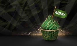 3D rendering wojskowego stylu babeczka Zdjęcie Royalty Free