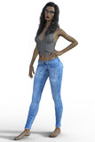 3D rendering of woman in blue jeans. Royalty Free Stock Images