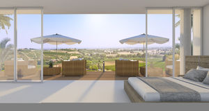 3d rendering wonderful bedroom with nice bed and outdoor armchair near green hill in summer Royalty Free Stock Photos