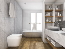 3d rendering wood bathroom and toilet with daylight from window Royalty Free Stock Photo