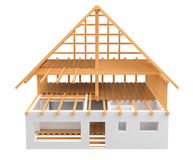 3D rendering wood and bricks unfinished plan house Stock Image