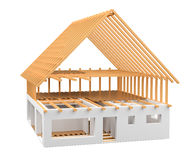 3D rendering wood and bricks unfinished plan house Stock Images