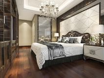 3d rendering wood classic bedroom suite with bookshelf and bathroom. 3d rendering interior and exterior design Stock Photo