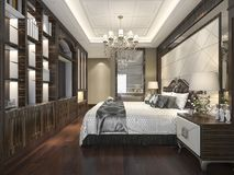 3d rendering wood classic bedroom suite with bookshelf and bathroom. 3d rendering interior and exterior design Royalty Free Stock Image