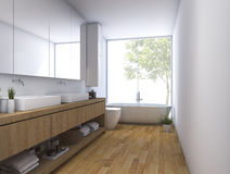 3d rendering wood clean bathroom with built in design Royalty Free Stock Image