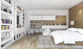 3d rendering wood contemporary bedroom with built in shelf Royalty Free Stock Image
