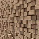 3d rendering of wood cubic random level background. Royalty Free Stock Image