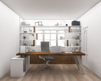 3d rendering wood floor with shelf working room. 3D Interior rendering by 3ds max Royalty Free Stock Photography