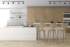 3d rendering wood kitchen and minimal decoration. 3d rendering interior design by 3ds max Royalty Free Stock Images