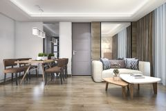 3d rendering wood luxury and modern living room and dining room vector illustration