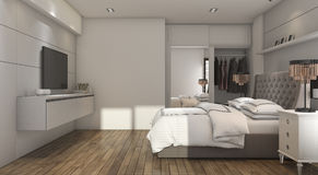 3d rendering wood luxury style bedroom with closet Stock Photo