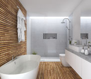 3d rendering wood modern bathroom with nice design Stock Image