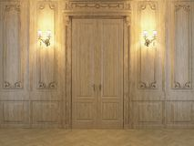 3D rendering wood panels in the interior Stock Photography