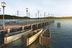 3d rendering wood pier near sea and nice mountain view with retro boat. 3d illustration scene rendering Royalty Free Stock Photos