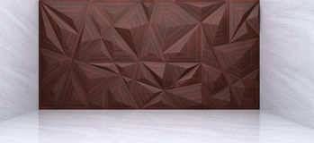 3D rendering of  wood polygon wall. In marble room Stock Photos
