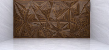 3D rendering of  wood polygon wall in marble room. With reflex Stock Images